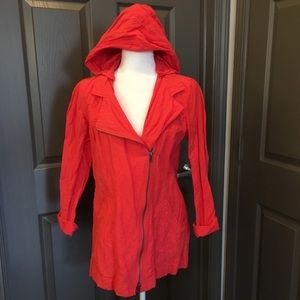 Eileen Fisher Small Lory Red Zip Hoodie Jacket